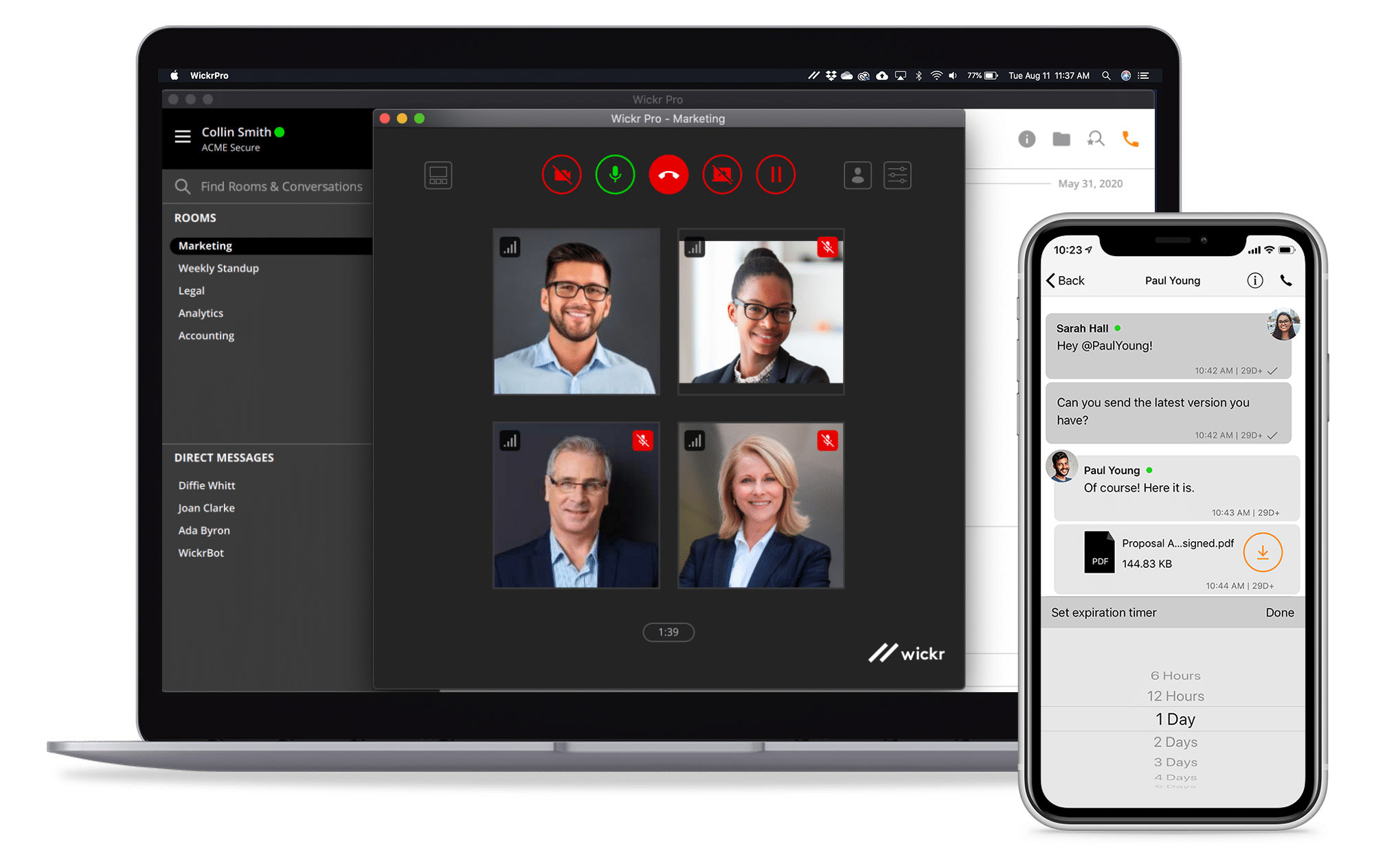 Wickr Pro Screens